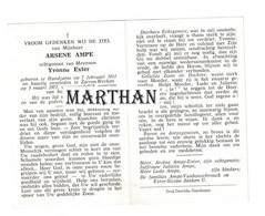 DOODSPRENTJE AMPE ARSENE ECHTGENOOT EXTER HANDZAME ZARREN-WERKEN 1911 - 1971 - Devotion Images