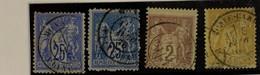 Lot 4 Timbres Type SAGE No 78, 79, 85, 92 Oblitéré Càd MONACO TB Monte Carlo 1878 25 C Et 2 C Pour Collection - 1876-1878 Sage (Type I)
