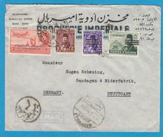 """LETTRE PAR AVION  DU CAIRE AVEC TIMBRES """"ROI FAROUK SURCHARGES""""  POUR HAMBOURG - Lettres & Documents"""