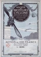 Faksimile / Reprint  -  Societe Des Moteurs Cyclone  -  Nachdruck Vom Wertpapier 1913 - Aviazione