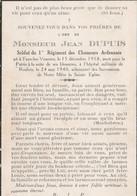 ABL , Jean Dupuis , Né à Fays Les Veneurs , 15 Décembre 1918 Pour La Patrie Le 24 Mai 1940 , 1er Chasseurs Ardennais - Overlijden