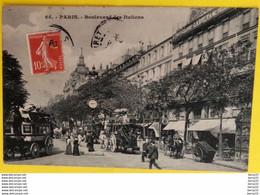 CPA - PARIS 2e / 9e - Boulevard Des Italiens (Bon 1er Plan Tramway Hippomobile: Madeleine-Bastille, Voiture à Cheval - Arrondissement: 02