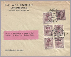 LUXEMBOURG - Charlotte 6c X 5 - 1931 - UPU Printed Matter To USA - 1921-27 Charlotte Voorzijde