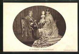 AK Kaiser Karl I. Von Österreich Mit Seiner Gemahlin Und Tochter - Familles Royales