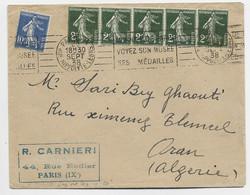 FRANCE SEMEUSE 2CX5+10C LETTRE PARIS IX 28 SEPT 1938 POUR ALGERIE AU TARIF IMPRIME - 1906-38 Sower - Cameo