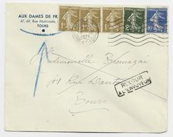 FRANCE SEMEUSE 1CX3+2C+10C BLEU LETTRE TOURS RP 3.III.1937 INDRE ET LOIRE AU TARIF IMPRIME + RETOUR - 1906-38 Sower - Cameo