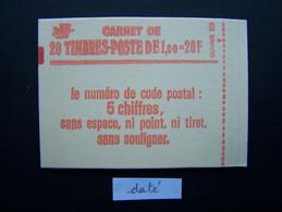 1973-C1 CONF. 8 CARNET DATE DU 26.4.78 FERME 20 TIMBRES SABINE DE GANDON 1,00 VERT CODE POSTAL (BOITE C) - Standaardgebruik