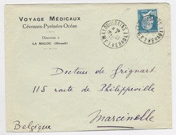 FRANCE N° 181 LETTRE DAGUIN TRACES DU PISTON LAMALOU LES BAINS 23.9.1929 HERAULT POUR BELGIQUE - Oblitérations Mécaniques (flammes)