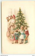 N°17287 - Enfants Près D'un Sapin Décoré Et D'un Père Noël - Altri