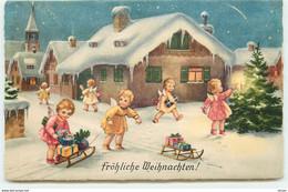 N°17238 - Fröhliche Weihachten - Anges Avec Des Cadeaux, Certains Sur Des Luges - Altri