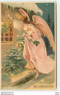 N°16072 - Carte Gaufrée - Fröhe Weihnachten -Ange Gardien Regardant Par Une Fenêtre - Autres