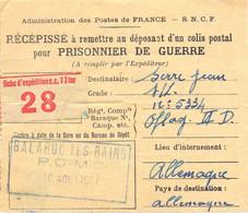 GUERRE 39-45 RÉCÉPISSÉ D'UN COLIS POSTAL POUR PRISONNIER DE GUERRE POUR OFLAG II D Du 10 AOUT 1941 BALARUC LES BAINS - WW II