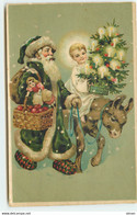 N°17162 - Père Noël Près D'un âne, Avec Une Ange Portant Un Sapin Décoré - Altri