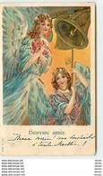 N°9549 - Carte Fantaisie Gaufrée - Heureuse Année - Anges Sonnant Les Cloches - Nouvel An