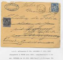 FRANCE SAGE 15C LETTRE AVIGNON 1882 POUR ESTAGEL PYRENNES ORIENTALES REEXP 10C SAGE ESTAGEL POUR ITALIE - 1877-1920: Semi-moderne Periode