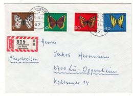 Allemagne - République Fédérale - Lettre Recom De 1963 - Oblit Ludwigshafen Am Rhein - Insectes - Papillons - Covers & Documents