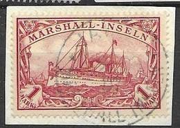 Marshall Islands VFU Jaluit 9.6.1907 100 Euros +5 Euros Fragment Cancel - Colonia: Isole Marshall