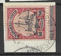 Marshall Islands VFU Jaluit 9.6.1907 42 Euros +5 Euros Fragment Cancel + Border - Colonia: Isole Marshall