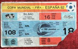 Bilbao Estadio San Mamés/ UK Angleterre España 82 Copa Mundial-FIFA Sports Football Ticket D'entrée Entry Coupe Du Monde - Other