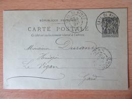 Entier Type Sage 10c N°89-CP5 Circulé Entre Nîmes Et Le Vigan En 1897 - Postales Tipos Y (antes De 1995)