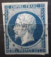 Empire No 14 A A Bleu Foncé Obl Pc 3297 De ST SAINT VAAST DE LA HOUGUE , Manche , Indice 5, TB - 1853-1860 Napoleon III