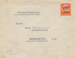 """Alsace HINDENBURG 8pf Obl """" PFIRT """" Griffe Linéaire Sur Lettre Papier D'affaires > Schlettstadt - Rabat Non Collé - Alsace Lorraine"""