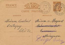 "ENTIER CP INTERZONES IRIS > MADAGASCAR REDIRIGÉ DIEGO SUAREZ - Obl "" PLOERMEL MORBIHAN 20/7/41 "" - Standard Postcards & Stamped On Demand (before 1995)"