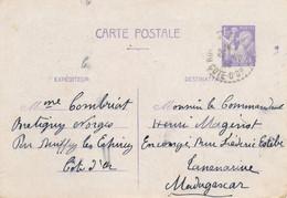 "ENTIER CP 1f20 IRIS > MADAGASCAR TANANARIVE - Obl "" RUFFEY LES ECHIREY COTE - D'OR 25/10/41 "" Cachet Perlé - Guerra Del 1939-45"