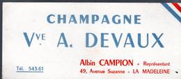 Buvard Champagne Vve A. Devaux Be - Liquor & Beer