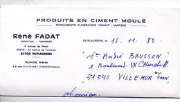 Puylaurens (81 Tarn) Lettre à Entête RENE FADAT  Ciment Moulé, Monuments Funéraires  1982 (PPP31106) - 1950 - ...