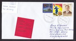 Kazakhstan: Cover To Azerbaijan, 2017, 3 Stamps, History, Returned, Rare Retour Label, Stamp At Back (2 Stamps Damaged) - Kazakistan