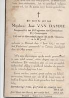 ABL, José Van Damme , Geboren Te Brussel Den 2 Juni 1921 , Het Vaderland  Te Cannes Den 10 Mai 1940 , 2e Grenadiers - Décès