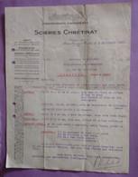 Courrier Lettre Du 09.09.1937 Scieries CHRETINAT à Marcilly Sur Eure - Parquets  - A Prendre En L Etat Perforée - - 1900 – 1949
