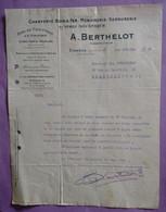 Courrier Lettre Du 01.10.1929 Scierie Mecanique à Etampes A.BERTHELOT -  Charpente  - A Prendre En L Etat Perforée - - 1900 – 1949