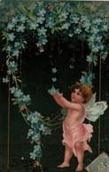 Illustrée Gaufrée, Dorée  ANGE SOUS UNE CASCADE DE MYOSOTIS - Angels