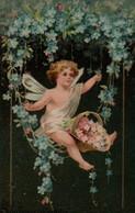 Illustrée Gaufrée, Dorée  ANGE Au Panier De  Myosotis Roses Et Bleus - Angels