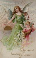 Illustrée Gaufrée Dorée : Deux Anges, Fleurs Blanches Et Grand Soleil - Anges