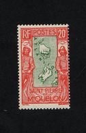 """SPM - TIMBRE NEUF AVEC TRACE DE CHARNIERE N°159 DE 1932/33 """" CARTE """" 20F ROUGE ET VERT - ETAT* - Ungebraucht"""
