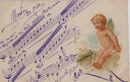 Illustrée  : Ange Chantant La Partition écrite Par L'expéditeur - Anges