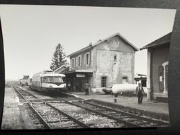Photographie Originale De J.BAZIN:Ligne De BESANÇON Au LOCLE : Autorail En Gare De GILLEY  En 1981 - Trenes