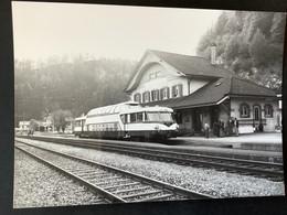 Photographie Originale De J.BAZIN:Ligne De BESANÇON Au LOCLE : Autorail Gare De Le LOCLE  - COL-  Des - ROCHES En 1981 - Trenes