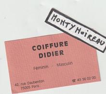 V P :  Dav :carte De  Visite :  Coiffure  Didier à Paris  5 Em - Visitenkarten