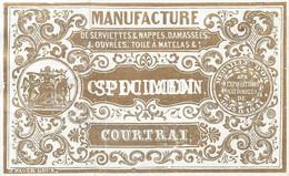 Prentje Manufacturen De Serviettes Et Nappes Dujardin  - Courtrai - Kortrijk  - 10 X 6 Cm - Kortrijk