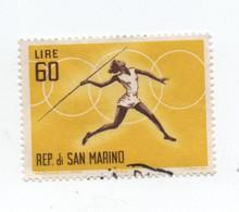 SAN MARINO»60 LIRE»1963»JAVELIN THROW»SUMMER OLYMPIC GAMES 1964 (TOKYO)»USED - Used Stamps
