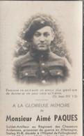ABL, Aimé Paques , Soldat Artilleur  ,  Chasseurs Ardennais, Décédé En Allemagne Stalag XI .B En 1941 - Overlijden