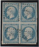 Frankreich 1853 Napoléon III 20c. Viererblock Gestempelt, Michel 13IA, Yvert 14  Bloc De 4, 2 Scans, Signiert - 1853-1860 Napoleon III