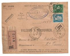 DEVANT De LETTRE 1926 - WIGART & THIEFFRY LILLE → MASLÉON HAUTE VIENNE - VALEURS à RECOUVRER - SEMEUSE + PASTEUR - 1921-1960: Periodo Moderno