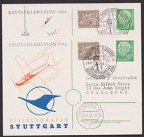 """Mi-Nr. PP8 C21/01a,b, """"Deutschlandflug"""", 1954, Beide Jarten Mit Zusatzfrankatur - Privatpostkarten - Gebraucht"""