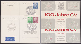 """Mi-Nr. PP9 D2/01b, 15 D2/01b, """"Cartellversammlung München"""", 1956, 2 Versch. Karten, Pass. Sst. - Privatpostkarten - Gebraucht"""