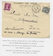 FRANCE 1C BLANC CABRIS ALPES MMES 12.8.1935 POUR ISERE REEXP N°190 C. HEX ST CHRISTOPGE EN OISANS 1935 ISERE POUR URIAGE - 1900-29 Blanc